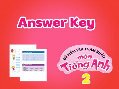 Đề kiểm tra tham khảo môn tiếng Anh 2 - Answer Key