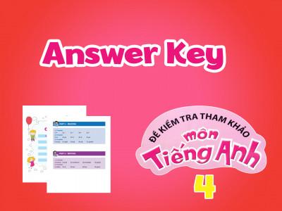 Đề kiểm tra tham khảo môn tiếng Anh 4 - Answer Key