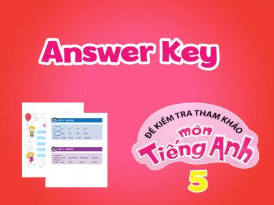 Đề kiểm tra tham khảo môn tiếng Anh 5 - Answer Key