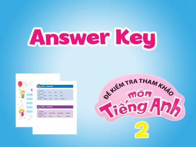 ĐỀ KIỂM TRA THAM KHẢO MÔN TIẾNG ANH 2-Answer Key